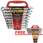 GearWrench 9701A - 8pc. SAE Flex Head Combo Ratcheting GearWrench Set w/ FREE 4 pc. SAE Flex Combo Ratcheting Set
