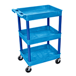 Luxor BUSTC111BU - Blue 3-Shelf Utility Cart