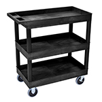 Luxor EC111HD-B - Black 3-Shelf Heavy-Duty Utility Cart