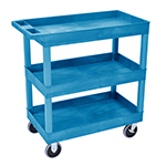 Luxor EC111HD-BU - Blue 3-Shelf Heavy-Duty Utility Cart