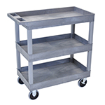 Luxor EC111HD-G - Gray 3-Shelf Heavy-Duty Utility Cart