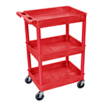 Luxor RDSTC111RD - Red 3-Shelf Utility Cart
