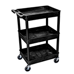 Luxor STC111-B - Black 3-Shelf Utility Cart