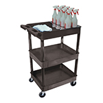 Luxor STC111H-B - Black 3-Shelf Utility Cart with Bottle Holder