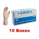 Ammex VPF 66100 - Large Powder Free Vinyl Exam Gloves (10 box x 100)