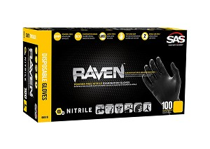 SAS Safety 66519 - XL Raven Nitrile Gloves - Black - 100 pcs