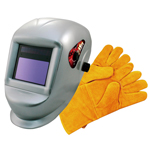 Astro Pneumatic 8077SE - Deluxe Solar Auto Darkening Welding Helmet with Large Viewing Area and Pair of Leather Gloves