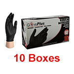 Ammex GPNB 42100 - Small Gloveplus Black Powder Free Nitrile Gloves (10 box x 100)