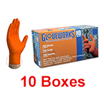 Ammex GWON 44100 - Medium Glovework HD 10mil Orange Nitrile Gloves (10 box x 100)