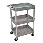 Luxor STC111-G - Gray 3-Shelf Utility Cart