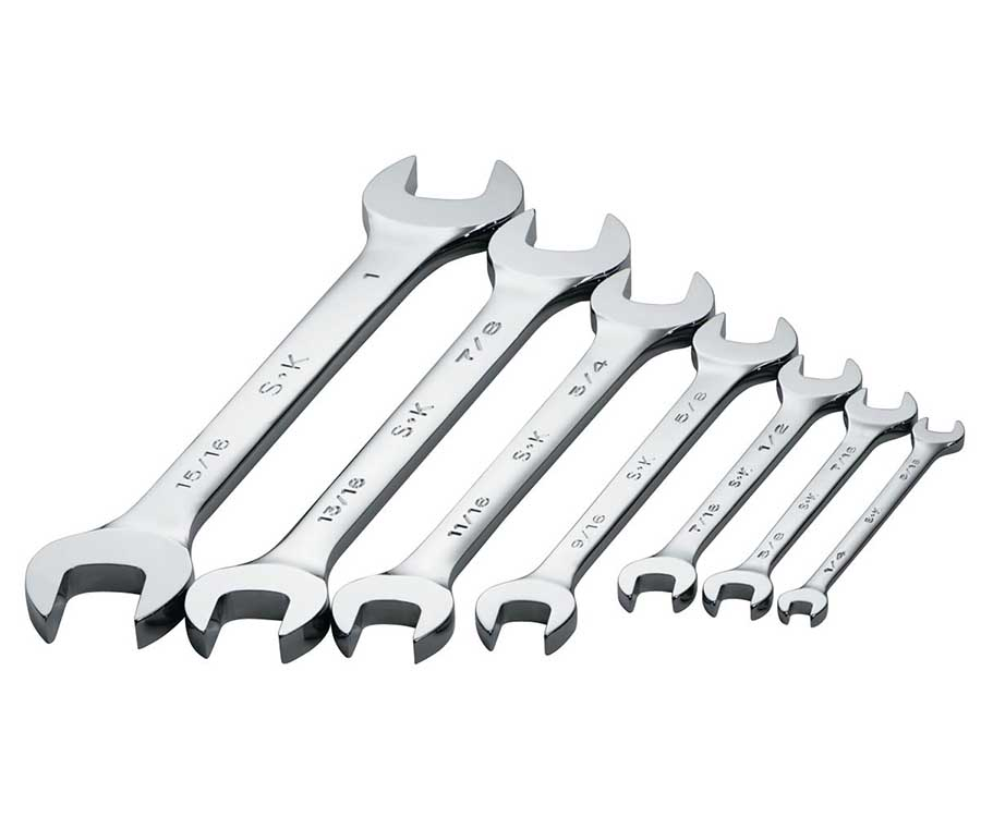 Save on SK Tool 86161 7 Piece SuperKrome Metric Open End Wrench Set at  ToolPan com