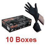 Atlantic Safety B311-L - Large InTouch Powder-Free Black Nitrile Exam Gloves - 1 Case (10 box x 100)