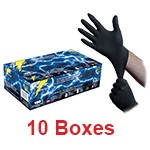 Atlantic Safety BL-M - Medium Black Lightning Nitrile Gloves - 1 Case (10 box x 100)