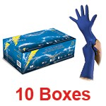Atlantic Safety BLUE-M - Medium Blue Lightning Powder-Free Ultra Thick Latex Gloves - 1 Case (10 box x 50)
