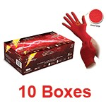 Atlantic Safety RL-M - Medium Red Lightning Powder-Free Nitrile Gloves - 1 Case (10 box x 100)