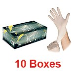 Atlantic Safety WL-S - Small White Lightning Powder-Free Heavy-Duty Latex Gloves - 1 Case (10 box x 100)