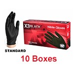 Ammex BX3 48100 - Extra Large Xtreme Black Powder-Free Nitrile Gloves (10 box x 100)