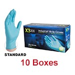 Ammex X3D 46100 - Large Industrial Powder-Free Nitrile Gloves (10 box x 200)