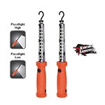 NightStick NSR-2168R - 2-Pack Red Rechargeable Floodlight With Magnetic Hooks & Replaceable Lens
