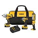 DeWalt DCK398HM2 - 20V MAX Cordless 3-Tool Impact Wrench/Spot Light Combo Kit