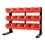 Wilmar W5186 - Table Top Storage Rack, with 15 Red Plastic Bins, Steel Holder, 21-1/4