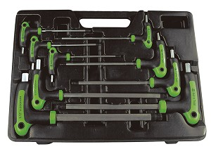 Astro Pneumatic 1025 - 9 Piece SAE T-4 Handle Ball Point and Hex Key Wrench Set