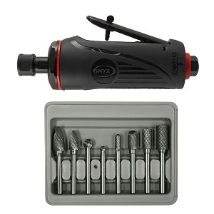 "Astro Pneumatic 2181B - ONYX 2 Pc. Die Grinder Kit with 1/4"" Medium Die Grinder & 8 Pc. Double Cut Carbide Rotary Burr Set"