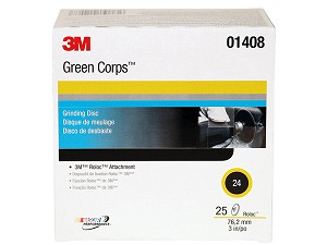 "3M Automotive 1408 - 3"" Green Corps Roloc Discs - 24 Grit"