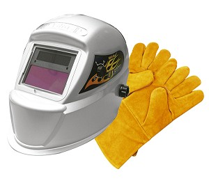 Astro Pneumatic 8075SE - Deluxe Solar Auto-Darkening Welding Helmet with Free Pair of Gloves