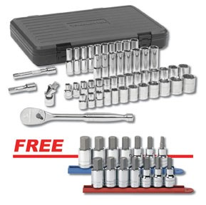 "GearWrench 80700A - 49pc. 1/2"" Dr. 6 pt. SAE/Metric Socket Set w/ FREE 7pc. 3/8"" & 1/2"" Dr. SAE & Metric Hex Bit Skt Set"
