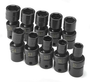 "SK Tool 33351 - 10 Piece 3/8"" Drive 6 Point Swivel Metric Impact Socket Set"